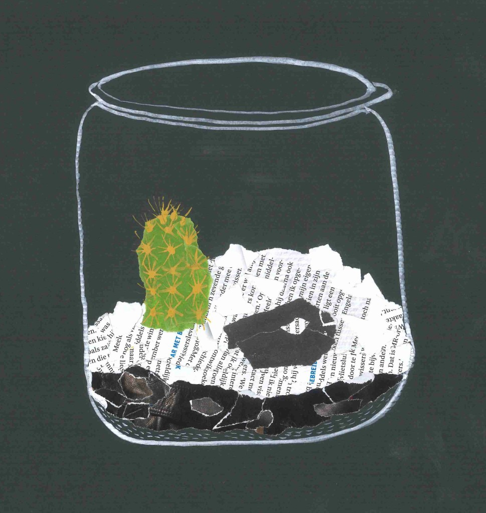 An image of a cactus in a jar with some earth, maybe peat, and gravel.